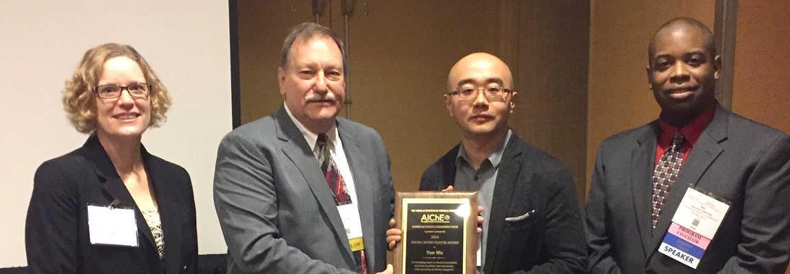 CBE's Yue Wu receives chemical engineering honor at conference