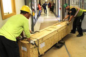 Large crate in Sweeney hallway