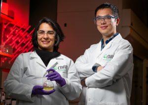 Chemical engineering graduate students Sanaz Abdolmohammedi and Jiajie Huo